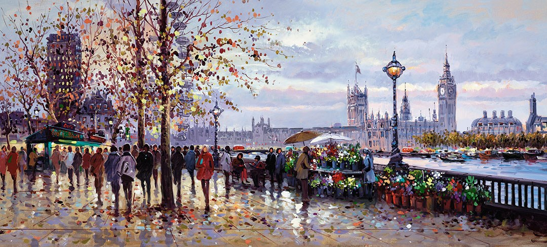 Lamplight, South Bank by Henderson Cisz - Hand Finished Limited Edition on Canvas sized 42x19 inches. Available from Whitewall Galleries